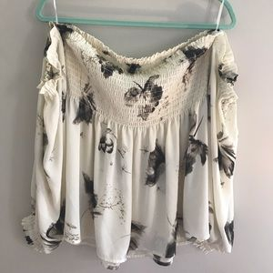 Floral strapless top - express